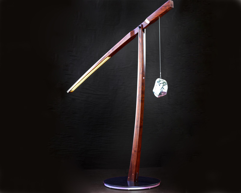 Swivel paige wood floor lamp