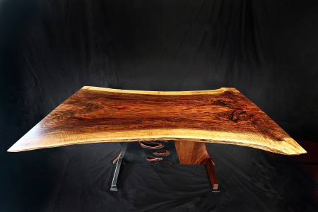 Walnut & Steel Dining Table top view