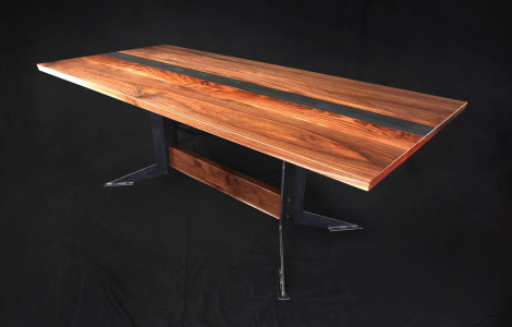 Walnut and steel dining table top view