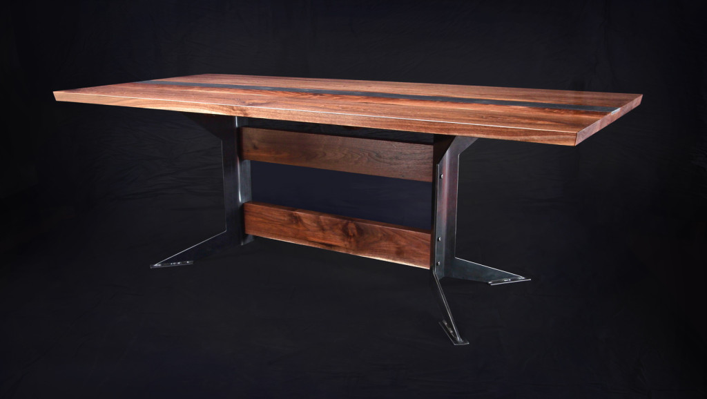 "Walnut and steel dining table 38"" by 84"""