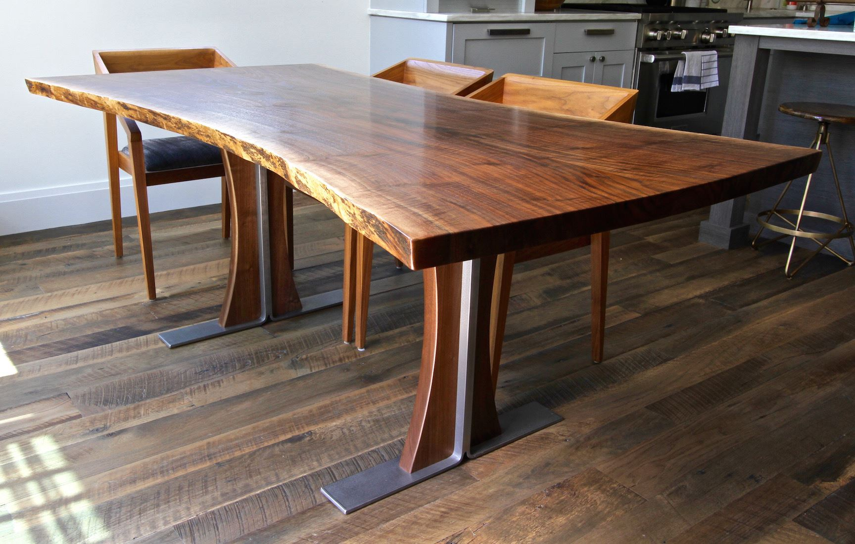 Figured Walnut & Brushed Steel Dining Table