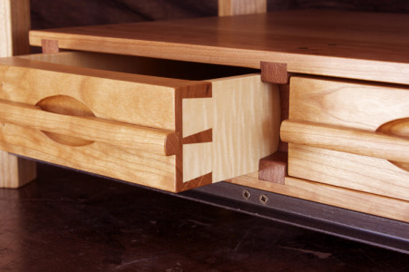Handmade desk drawer detail