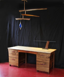 Desk and Mobile with blue glass