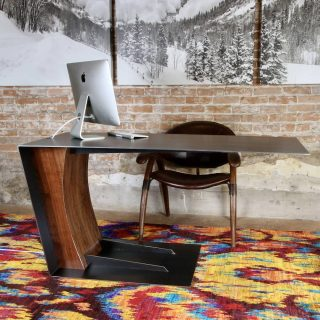 The new desk just landed. Bent and reinforced steel with inset walnut. Help me name it! #finefurniture #Telluride #walnut #woodworking #handmade #steel #desk #contemporary #industrial #table #canteliver #modern #office #officedecor