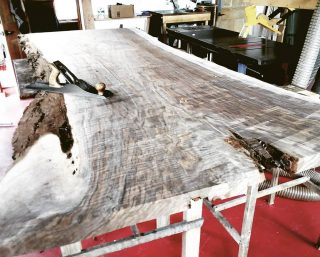 The color and curl of this book matched pair is going to be bonkers beautiful.  #finefurniture #handmade #custom #woodworking #Telluride #walnut #table #dining table #naturaledge #beautiful #figured wood #bookmatch #interiordesign #oneofakind