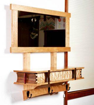"One of four ""Mirror Boxes"" for Luca Decor #lucadecor225 in Santa Fe. A great storage/shelf/mirror/coat-hook for an entryway.  Process video coming soon! #finefurniture #Telluride #santafe #handmade #dovetail #storageideas #shelf #interiordesign #mirror #quiltedmaple #walnut #purpleheart #cherry"