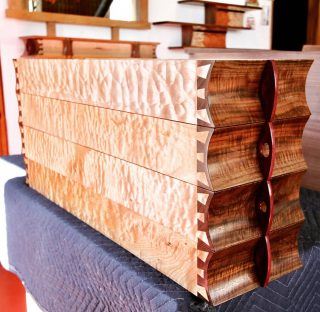 The quilted maple box sides came alive with the finish. #finefurniture #handmade #custom #woodworking #Telluride #santafe #225canyonroad #lucadecor #storageideas #sculpted #dovetail #lucadecor225 #quiltedmaple