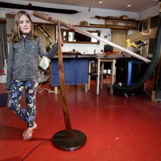 Paige will allow you to observe her lamp. #finefurniture #handmade #custom #woodworking #Telluride #led #counterweight #artistsoninstagram #artlight #functionalart #counterbalance #floorlamp
