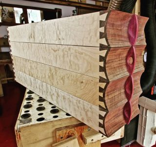 Boxes are assembled and sanded. The quilted maple sides are going to gleam like jewelry once they're finished.  #finefurniture #handmade #custom #woodworking #Telluride #santafe #oneofakind #art #interiordesign #shelf #box #lucadecor225 #quiltedmaple #heirloom #dovetail #functionalart